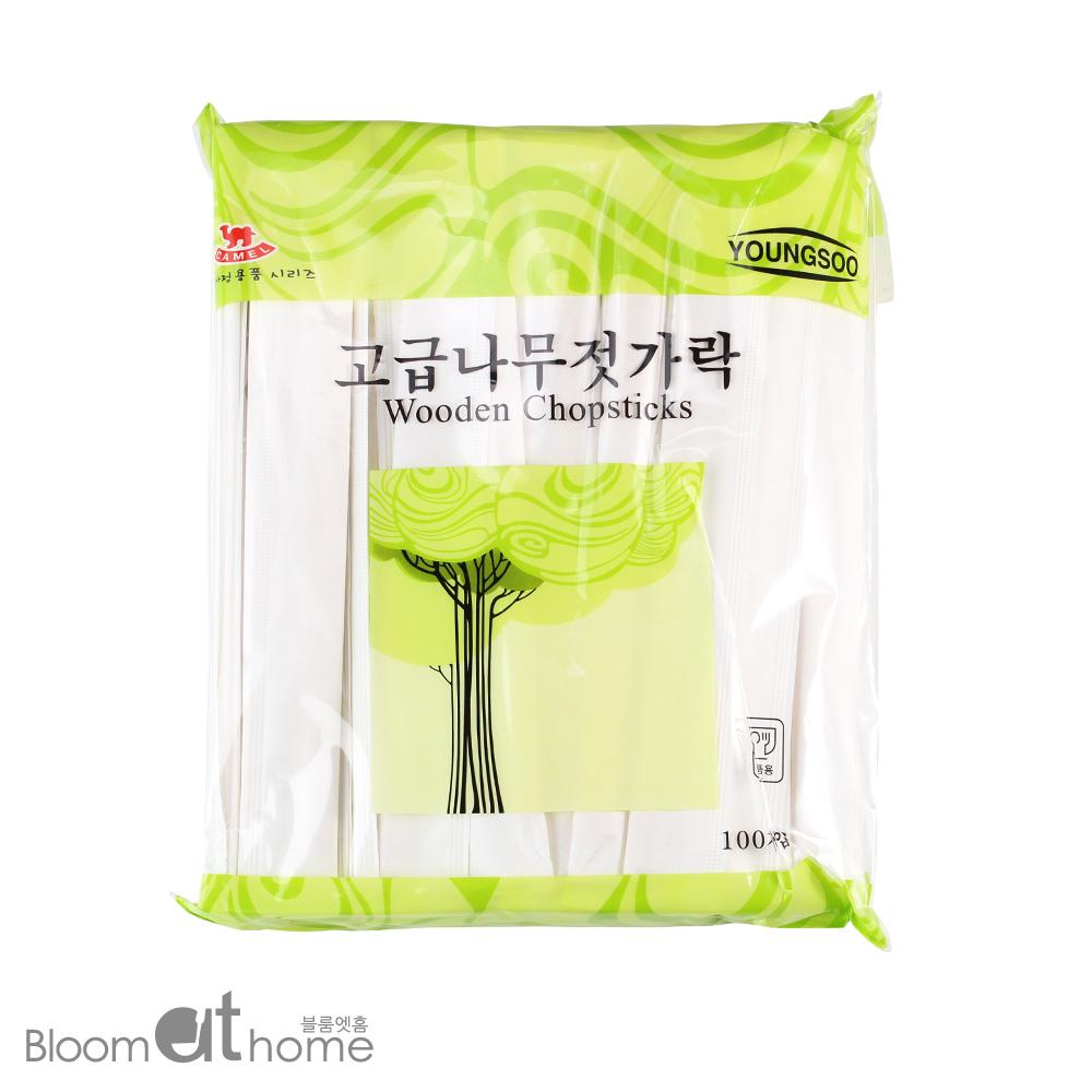 일회용 자작나무 젓가락 종이 100개